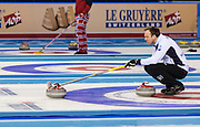 "Glasgow. SCOTLAND. Scotland's ""Skip"" Tom BREWSTER, signal with the brush, where he wants the ""Stone"" Placed, during the, Le Gruyère European Curling Championships. 2016 Venue, Braehead  Scotland<br /> Sunday  20/11/2016<br /> <br /> [Mandatory Credit; Peter Spurrier/Intersport-images]"