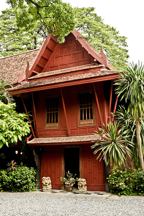 Facade of the Jim Thompson house in Bangkok, vertical orientation.
