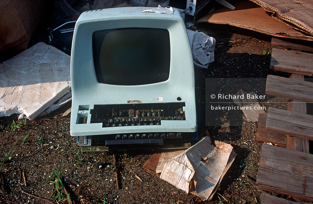 An old 'Dumb Terminal' or desktop video display terminal (VDT) awaits bids during a NASA space junk auction on Merrit Island, Florida - part of a sale of space paraphernalia belonging to NASA enginer Charlie Bell, on 10th March 2003, on Merrit Island, Florida, USA. This was common design theme from the 1970s: a rounded plastic shell that housed a monochrome CRT screen and integrated keyboard. (Photo by Richard Baker / In Pictures via Getty Images)