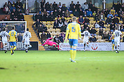 Torquay United's David Fitzpatrick(hidden) shoots at goalscores a goal 2-0 during the Vanarama National League match between Torquay United and Forest Green Rovers at Plainmoor, Torquay, England on 26 December 2016. Photo by Shane Healey.