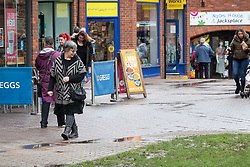 © Licensed to London News Pictures. 04/03/2019. Salisbury, UK. On the first anniversary of the poisoning of former Russian spy Sergei Skripal and his daughter Yulia shoppers pass the spot in Salisbury where they first became ill in March 2018. They both survived the nerve agent attack but a resident of nearby Amesbury, Dawn Sturgess, died in June 2018 after coming in contact with the poison. Two Russians have been named in connection with the attack. Photo credit: Peter Macdiarmid/LNP