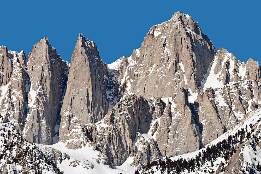 14497 ft Mount Whitney from the Alabama Hills, Sierra Range, CA in late winter.