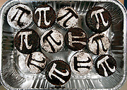 MA3/14/08 2 PiDay<br /> ML0439C<br /> Some 6th graders at Brown Middle School celebrated Pi Day with various activities including baking treats with a pi theme. These wonderfully graphic cupcakes were made by 6th grader Kendall Jerzyk. Photo by Mara Lavitt