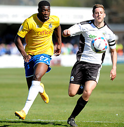 Bristol Rovers' Nathan Blissett  challenges Dover Athletic's Connor Essam - Photo mandatory by-line: Neil Brookman/JMP - Mobile: 07966 386802 - 18/04/2015 - SPORT - Football - Dover - Crabble Athletic Ground - Dover Athletic v Bristol Rovers - Vanarama Football Conference