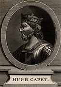 Hugh Capet (c938-996) elected king of France in 987 after the death of Louis V. Founder of Capetian dynasty which lasted until 1328. Copperplate engraving, 1793.