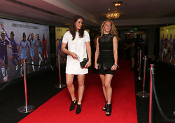 Manchester City Women's Jennifer Beattie (left) and Keira Walsh arriving for the Professional Footballers' Association Awards 2017 at the Grosvenor House Hotel, London