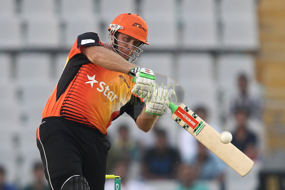 Craig Simmons of the Perth Scorchers attacks a delivery during match 4 of the Oppo Champions League Twenty20 between the Dolphins and the Perth Scorchers held at the Punjab Cricket Association Stadium, Mohali, India on the 20th September 2014<br /> <br /> Photo by:  Shaun Roy / Sportzpics/ CLT20<br /> <br /> <br /> Image use is subject to the terms and conditions as laid out by the BCCI/ CLT20.  The terms and conditions can be downloaded here:<br /> <br /> http://sportzpics.photoshelter.com/gallery/CLT20-Image-Terms-and-Conditions-2014/G0000IfNJn535VPU/C0000QhhKadWcjYs