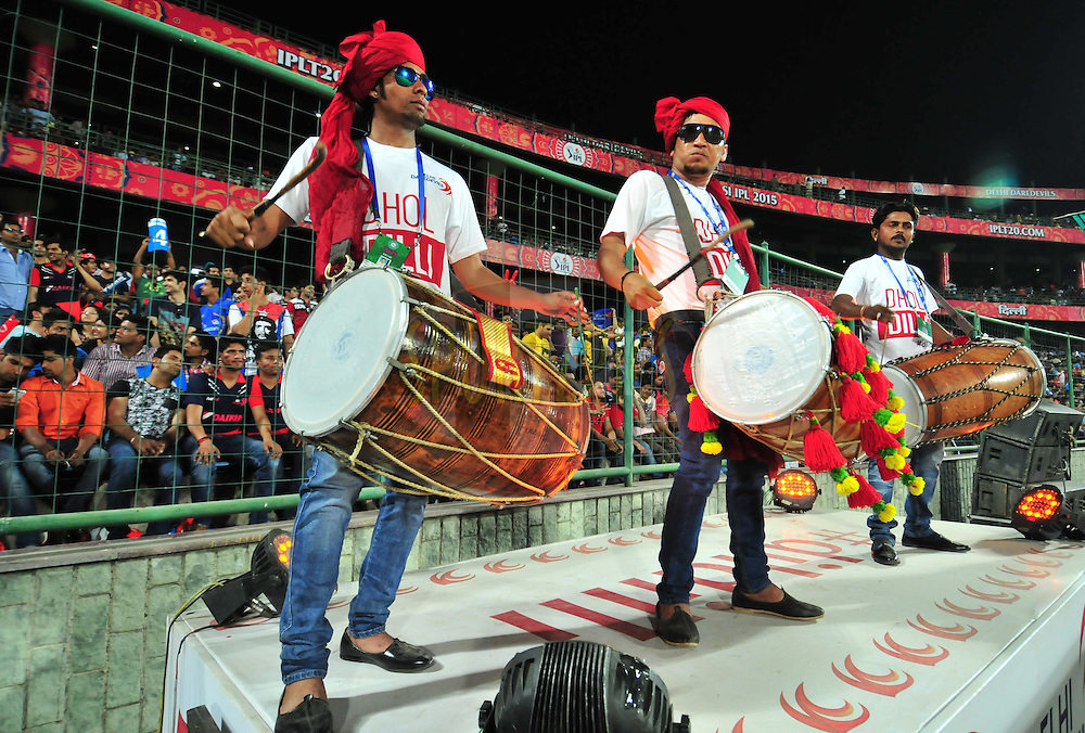 DD drum artist  during match 21 of the Pepsi IPL 2015 (Indian Premier League) between The Delhi Daredevils and The Mumbai Indians held at the Ferozeshah Kotla stadium in Delhi, India on the 23rd April 2015.<br /> <br /> Photo by:  Arjun Panwar / SPORTZPICS / IPL