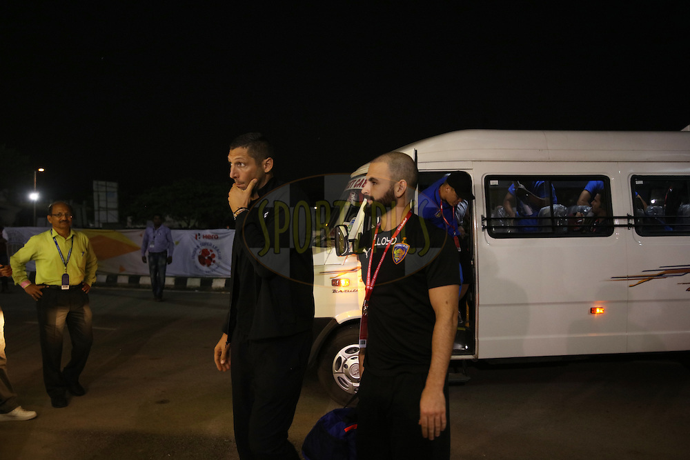 CFC head coach Marco(L) and other arrived atteam bus during match 18 of the Indian Super League (ISL) season 3 between NorthEast United FC and Chennaiyin FC held at the Indira Gandhi Athletic Stadium in Guwahati, India on the 20th October 2016.<br /> <br /> Photo by Saikat Das / ISL/ SPORTZPICS