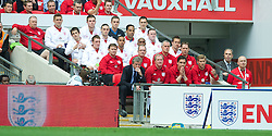 LONDON, ENGLAND - Saturday, June 2, 2012: England's head coach Roy Hodgson and coach Gary Neville against Belgium during the International Friendly match at Wembley. (Pic by David Rawcliffe/Propaganda)