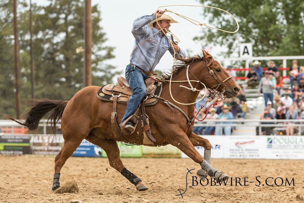 Joe James makes his tie-down roping run during the third performance of the Elizabeth Stampede on Sunday, June 3, 2018.