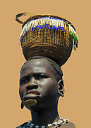 Digitally enhanced image of a woman of the Mursi tribe. A nomadic cattle herder ethnic group located in Southern Ethiopia, Woman with clay lip disc as body ornaments