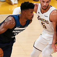 25 December 2017: Minnesota Timberwolves guard Jimmy Butler (23) drives past Los Angeles Lakers guard Josh Hart (5) on a screen set by Minnesota Timberwolves guard Jeff Teague (0) during the Minnesota Timberwolves 121-104 victory over the LA Lakers, at the Staples Center, Los Angeles, California, USA.