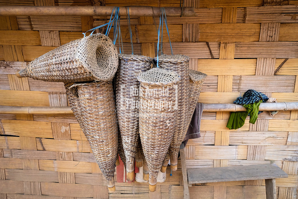 Bamboo fishing traps used by fishermen on the Nam Ou River in Northern Laos