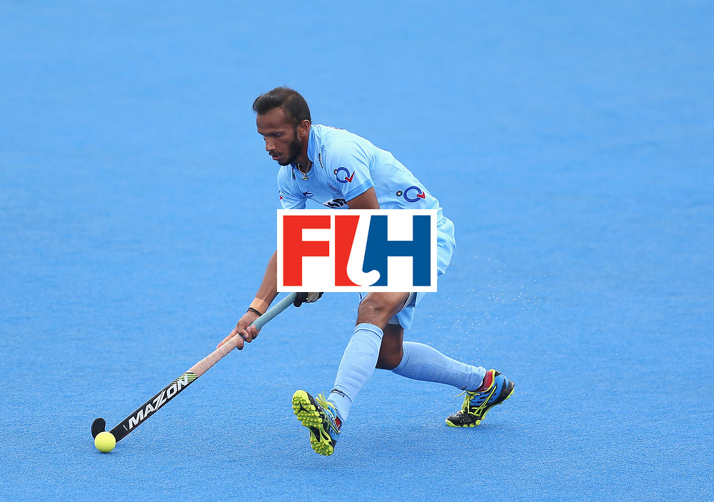 LONDON, ENGLAND - JUNE 25: Sunil Sowmarpet of India in action during the 5th/6th place match between India and Canada on day nine of the Hero Hockey World League Semi-Final at Lee Valley Hockey and Tennis Centre on June 25, 2017 in London, England. (Photo by Steve Bardens/Getty Images)