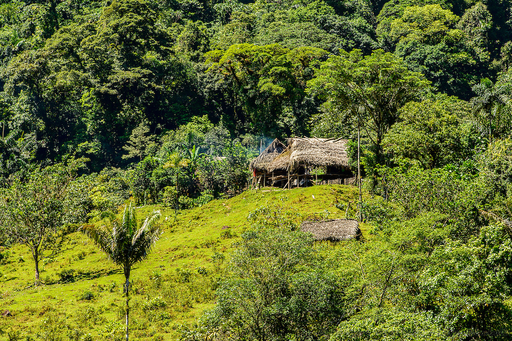 Traditional homes & farms of Indigenous people Ngobe Bugle; north of Santa Fe, Santa Fe National Park, Cordillera Central, Panama