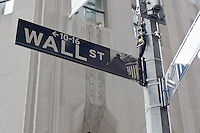 Wall St signpost in New York October 2008