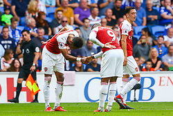 Pierre-Emerick Aubameyang of Arsenal shakes hands with Alexandre Lacazette of Arsenal as they celebrate the third goal of the game scored by Alexandre Lacazette of Arsenal - Mandatory by-line: Ryan Hiscott/JMP - 02/09/2018 -  FOOTBALL - Cardiff City Stadium - Cardiff, Wales -  Cardiff City v Arsenal - Premier League