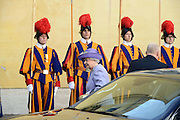 Queen Elizabeth II and the the Duke of Edinburgh meet with Pope Francis in a private hearing in Vatican.