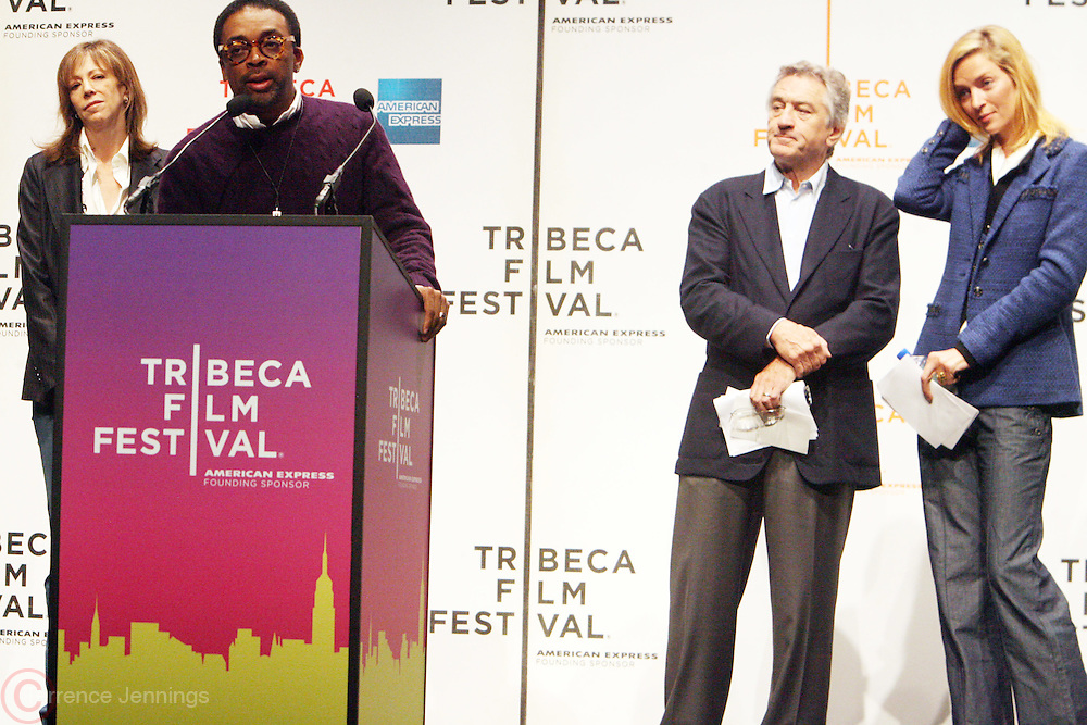 l to r: Jane Rosenthal, Spike Lee, Robert De Niro and Urma Thurman at The 2009 Tribeca Film Festival Opening Press Conference Kick-Off held at The Borough of Manhattan Community College in New york City on April 21, 2009