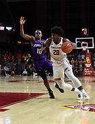 Nov 8, 2019; Los Angeles, CA, USA; Southern California Trojans guard Ethan Anderson (20) is defended by Portland Pilots guard Chase Adams (10) in the second half at Galen Center USC defeated Portland State 76-65.