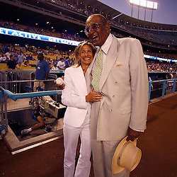 Colorado Rockies vs Los Angeles Dodgers at Dodger Stadium, Dodgers Friday night September 1. 2006 in Los Angeles,Calif., Former Dodger Don Newcombe was honored with a resolution from the city of Los Angeles, Newcombe with Jaime McCourt, owner of  the Dodgers. <br /> (SGVN Staff Photo Keith Birmingham SXSports)