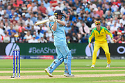 Eoin Morgan of England pulls the ball to the boundary for four runs during the ICC Cricket World Cup 2019 semi final match between Australia and England at Edgbaston, Birmingham, United Kingdom on 11 July 2019.