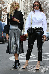 Xenia Van Der Woodsen (left) and friend arrive at the Julien Macdonald Autumn / Winter 2017 London Fashion Week show at Goldsmiths Hall, London on Saturday February 18, 2017