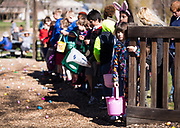 Children wait patiently before the start of the  21st Annual Easter Egg Hunt at Winnequah Park in Monona, WI on Saturday, April 20, 2019.