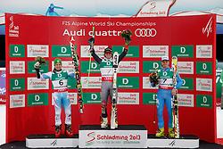 15.02.2013, Planai, Schladming, AUT, FIS Weltmeisterschaften Ski Alpin, Riesenslalom, Herren, Siegerpraesentation, im Bild Marcel Hirscher (AUT, 2. Platz), Ted Ligety (USA, 1. Platz), Manfred Moelgg (ITA, 3. Platz) // 2nd place Marcel Hirscher of Austria, 1st place Ted Ligety of United States, 3rd place Manfred Moelgg of Italy on Winners Presentation during mens Giant Slalom at the FIS Ski World Championships 2013 at the Planai Course, Schladming, Austria on 2013/02/15. EXPA Pictures © 2013, PhotoCredit: EXPA/ Martin Huber