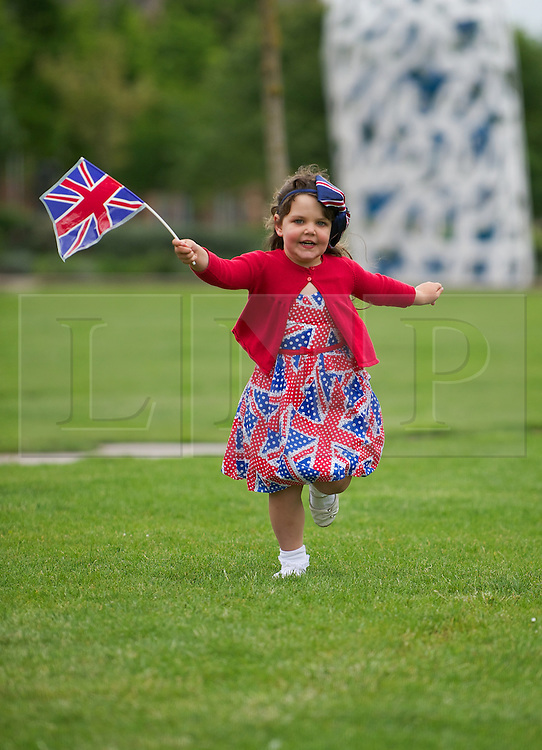 © Licensed to London News Pictures. 03/06/12.Middlesbrough, England...Kallisata Lakin aged 4, from Australia has fun during a party to celebrate the Queen's Diamond Jubilee in Middlesbrough town centre.. .The Royal Jubilee celebrations. Great Britain is celebrating the 60th  anniversary of the countries Monarch HRH Queen Elizabeth II accession to the throne this weekend Photo credit : Ian Forsyth/LNP