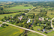 Aerial view of Paoli, Wisconsin and the Sugar River on an early autumn day. Verona is at the top of the photograph.