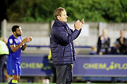 AFC Wimbledon manager Neal Ardley clapping during the EFL Sky Bet League 1 match between AFC Wimbledon and Milton Keynes Dons at the Cherry Red Records Stadium, Kingston, England on 22 September 2017. Photo by Matthew Redman.