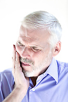 caucasian senior man portrait  teeth pain isolated studio on white background