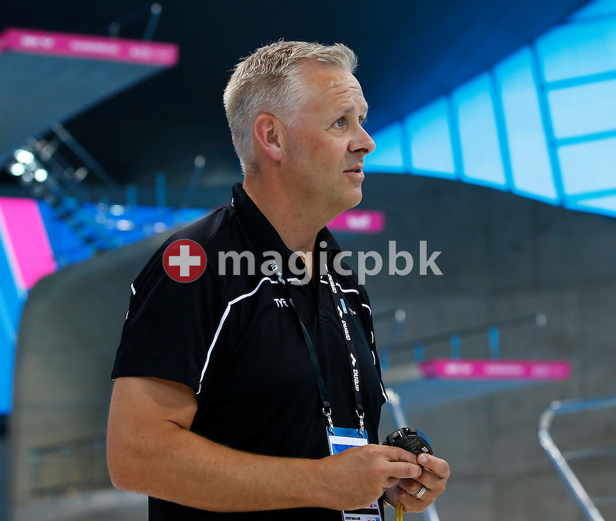 Coach Eyleifur JOHANNESSON of Denmark looks on during a training session one day prior to the start of the LEN European Swimming Championships held at the London Aquatics Centre in London, Great Britain, Sunday, May 15, 2016. (Photo by Patrick B. Kraemer / MAGICPBK)