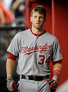 Aug. 10, 2012; Phoenix, AZ, USA; Washington Nationals outfielder Bryce Harper (34) reacts during the game against the Arizona Diamondbacks at Chase Field. The Nationals defeated the Diamondbacks 9-1. Mandatory Credit: Jennifer Stewart-US PRESSWIRE