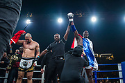 Patrice Quarteron (fra) and Sean Tolouee (tur) during the Muay Thai, Thai Boxing fight between Patrice Quarteron and Sean Tolouee on December 14, 2017 at AccorHotels Arena in Paris, France - Photo Pierre Charlier / ProSportsImages / DPPI