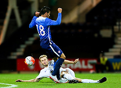 Eric Dier of England U21 tackles Mario Rodriguez of USA U23  - Mandatory byline: Matt McNulty/JMP - 07966386802 - 03/09/2015 - FOOTBALL - Deepdale Stadium -Preston,England - England U21 v USA U23 - U21 International