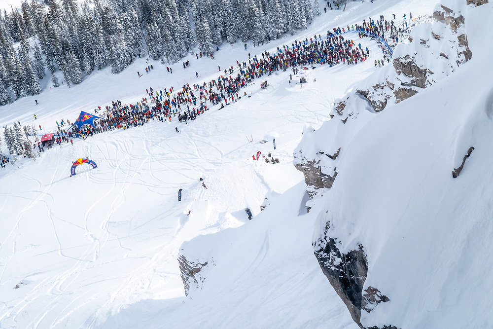JHMR Ski Patroller Ashley Babcock throwing a massive shifty at the lower jump of the Kings + Queens of Corbet's comp.