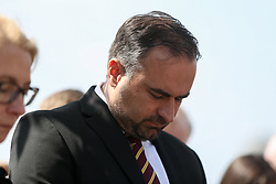 © Licensed to London News Pictures. 11/05/2017. Bradford, UK. Co-owner of Bradford City Edin Rahic at a ceremony in Bradford to commemorate the 32nd anniversary of the Bradford City fire. The Bradford City fire happened on 11th May 1985 during a game between Bradford City and Lincoln City. The disaster killed 56 and injured at least 265 people. Photo credit : Ian Hinchliffe/LNP