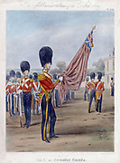Ensign of the Grenadier Guards. Note 'grenades' on collars and belts. From R. Ackermann 'Costumes of the British Army', 1844. Lithograph