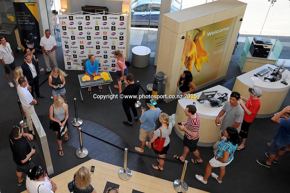 Caroline Wozniacki (DEN) at a signing appearance at ASB Bank Broadway.  ASB Classic Women's International. Auckland, New Zealand. Sunday 4 January 2015. Photo: Chris Symes/www.photosport.co.nz