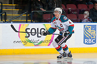 KELOWNA, CANADA - FEBRUARY 9:  Madison Bowey #4 of Kelowna Rockets skates against the Prince George Cougars on February 9, 2015 at Prospera Place in Kelowna, British Columbia, Canada.  (Photo by Marissa Baecker/Shoot the Breeze)  *** Local Caption *** Madison Bowey;