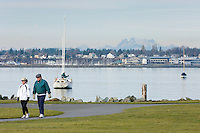 People enjoying a winter day at Boulevard Park, Bellingham Washington USA