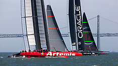 Artemis Racing's Red Boat practice with Oracle
