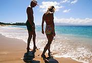 Polynesian woman on beach, Lanikai, Beach, Oahu, Hawaii