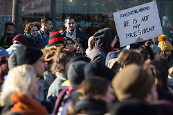 """Pussy grabs back"" protest rally in Berlin-Neukoelln against the election of Donald Trump as next US-president. - Berlin / 121116<br /> <br /> Protest-Kundgebung in Berlin-Neukoelln mit dem Motto ""Pussy grabs back"" gegen die Wahl von Donald Trump zum US-Präsidenten."