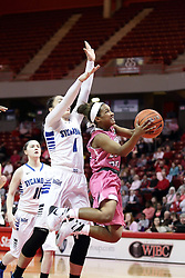 05 February 2016: Shakeela Fowler(22) gets under Ashley Taia for a layup. Illinois State University Women's Redbird Basketball team hosted the Sycamores of Indiana State for a Play4 Kay game at Redbird Arena in Normal Illinois.