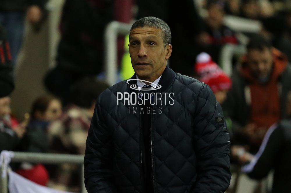 Brighton Manager, Chris Hughton during the Sky Bet Championship match between Rotherham United and Brighton and Hove Albion at the New York Stadium, Rotherham, England on 12 January 2016.