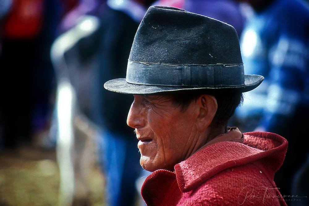An old farmer is visiting the weekly animal market in Otavalo.